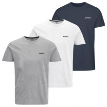 Jack & Jones 2021 Ewan Crew Neck Short Sleeve Regular Fit 3 Pack Mens T-Shirt