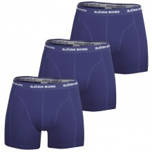 Bjorn Borg Mens Seasonal Soild Sammy 3 Pack Boxer Shorts