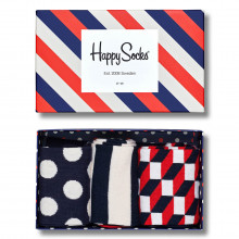 Happy Socks 2020 3-Pack Gift Box Comfort Cotton Striped Pattern Mens Socks